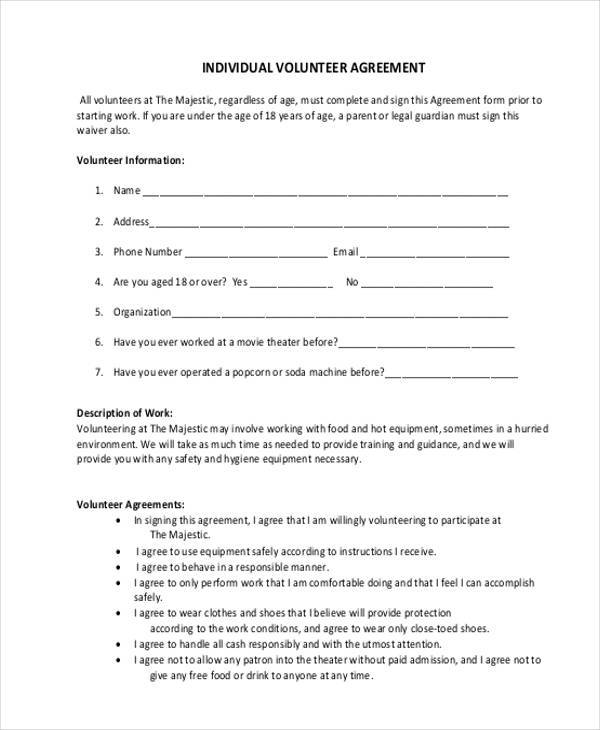 individual volunteer agreement form