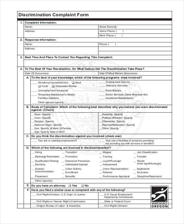 industrial insurance discrimination complaint form