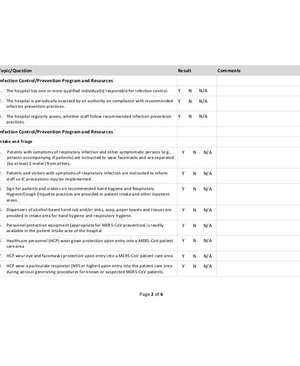 infection control assessment form in pdf