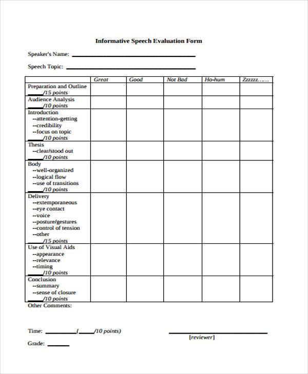 informative speech evaluation form