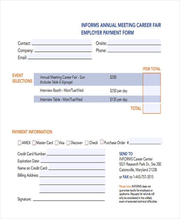 informs job fair registration form example