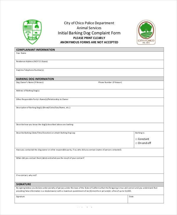 initial barking dog complaint form