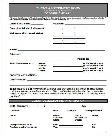 Client assessment form template gallery template design for Oum document templates