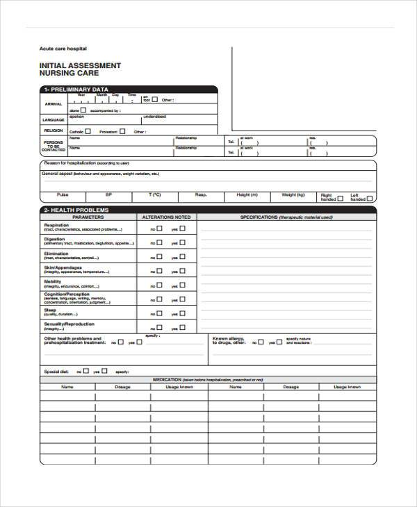 initial nursing assessment form