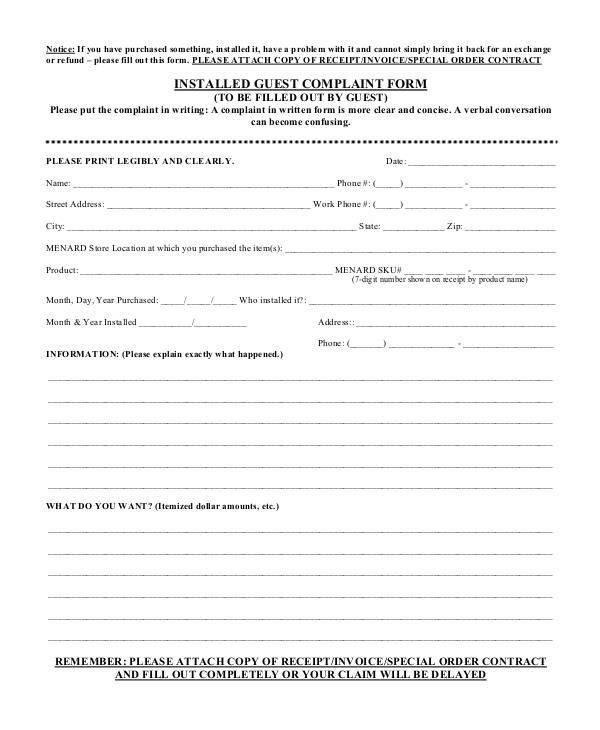 installed guest complaint form1