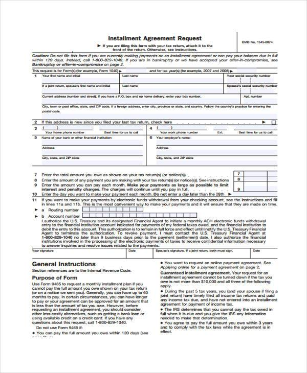 installment agreement request form sample