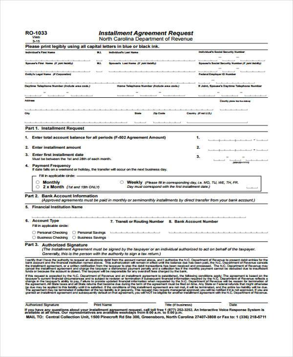 Installment Agreement Form Samples  Free Sample Example