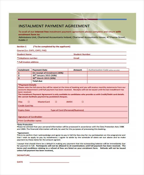 installment payment contract form