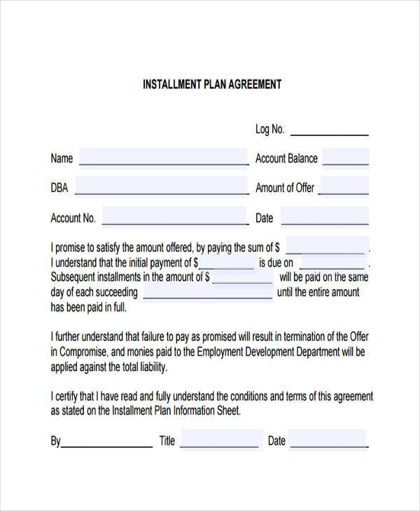 installment plan contract form