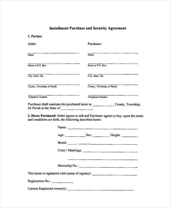 installment purchase agreement form