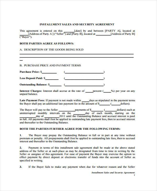 installment sale agreement form sample
