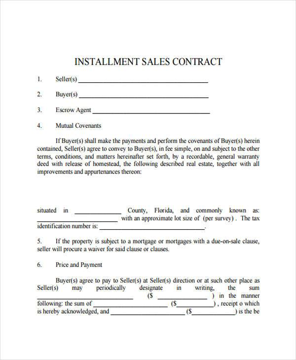 installment sale contract form sample