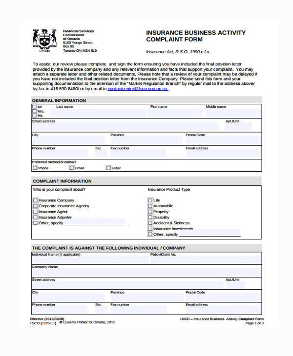 Sample Insurance Complaint Forms Free Documents In Word Pdf