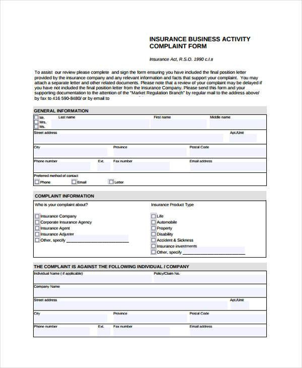 Insurance-Business-Activity-Complaint-Form1 Oci Application Form Sample Pdf on card signature, application signature, registration form, application form for minor declaration,