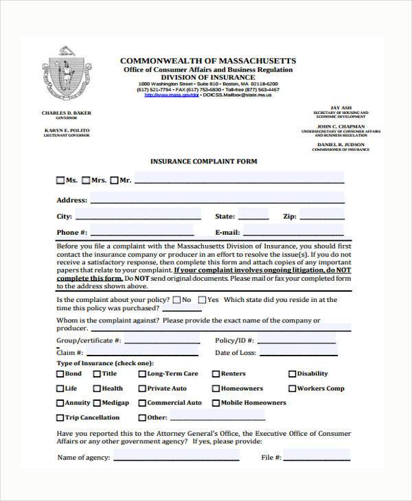 insurance complaint form example