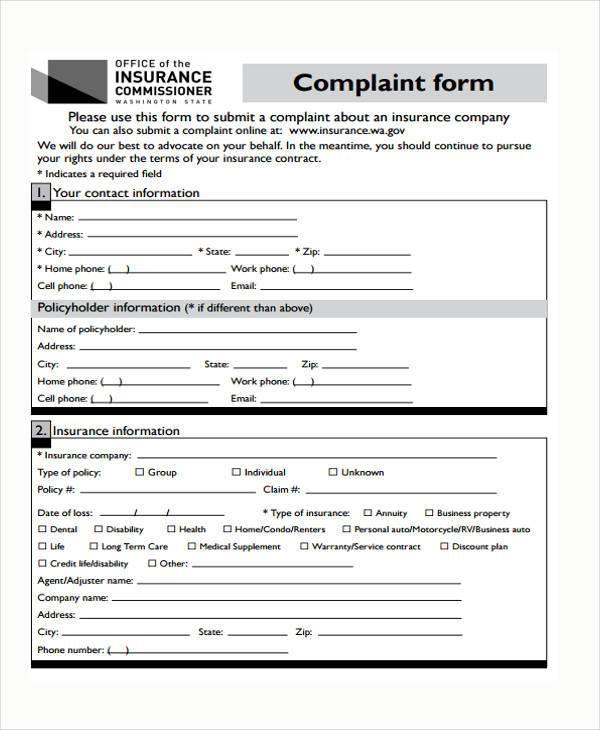 insurance complaint form sample