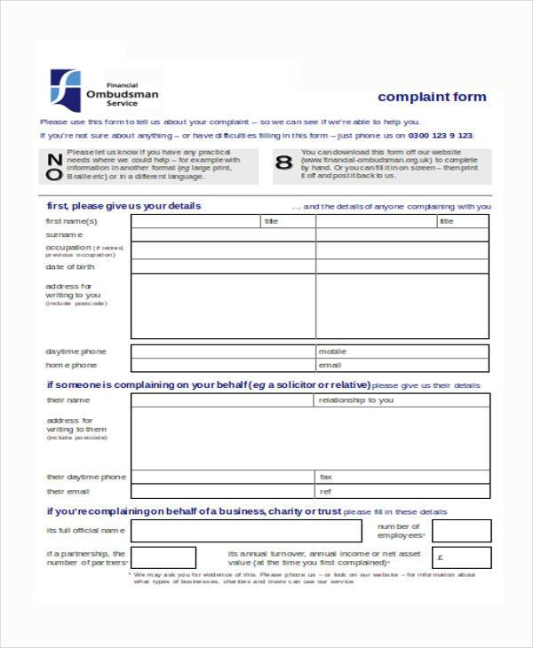 Financial Ombudsman Complaint Form. Sample Banking Ombudsman .