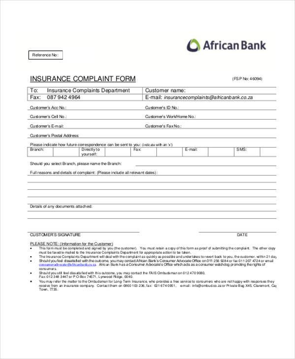 insurance complaint form in pdf