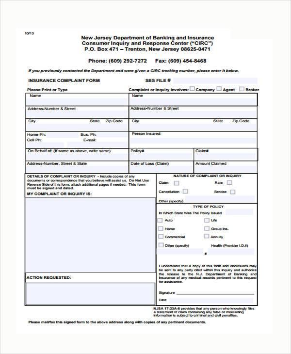 insurance complaint form