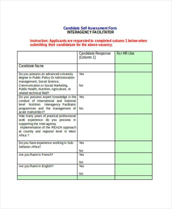 interagency self assessment form in doc