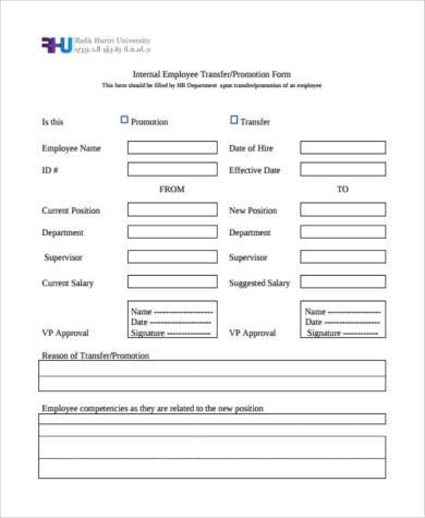 Employee Transfer Form Samples   Free Documents In Word Pdf