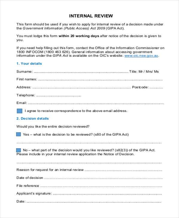 internal review form in pdf