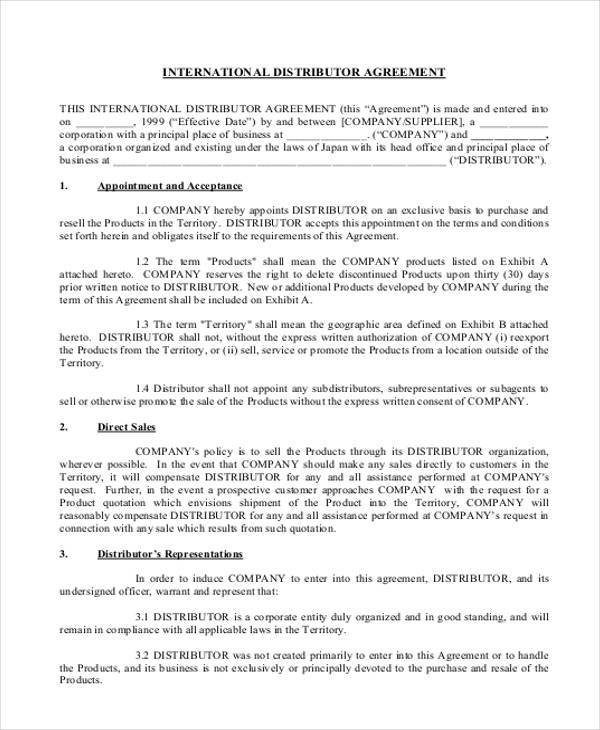 10 Distribution Agreement Form Samples Free Sample