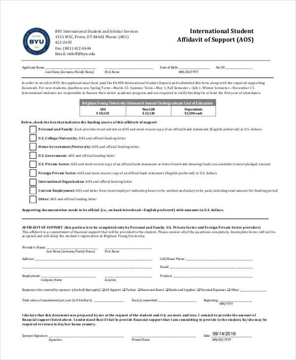 international student affidavit of support