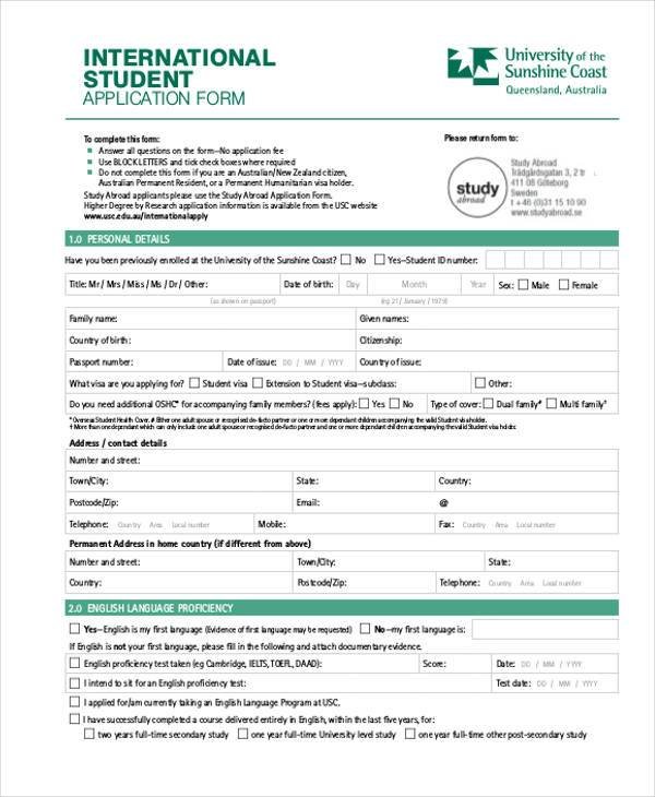 Student Application Form Samples  Free Sample Example Format