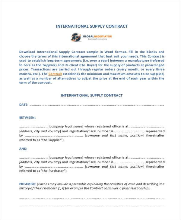 Sample Supply Contract Forms   Free Documents In Word Pdf