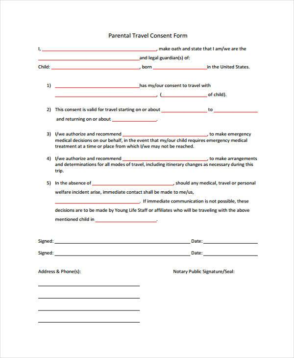 Travel consent form sample web form templates customize for Free child travel consent form template