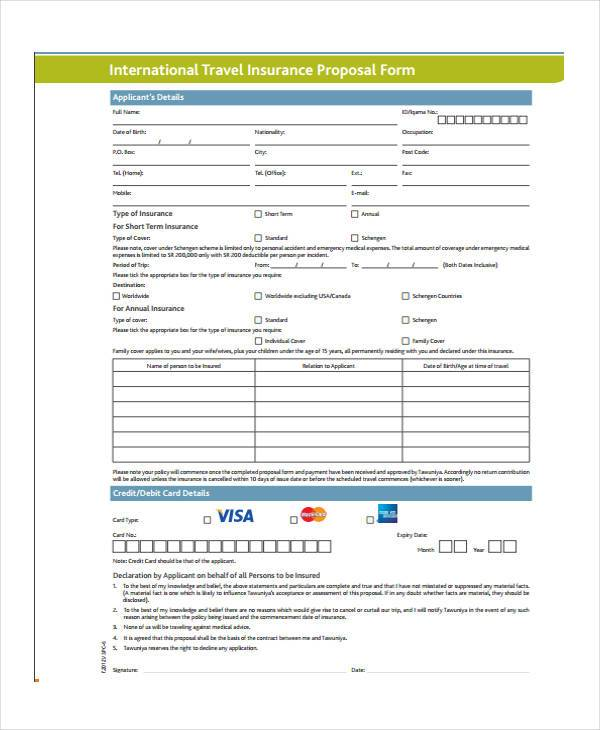 Travel Proposal Form Samples  Free Sample Example Format