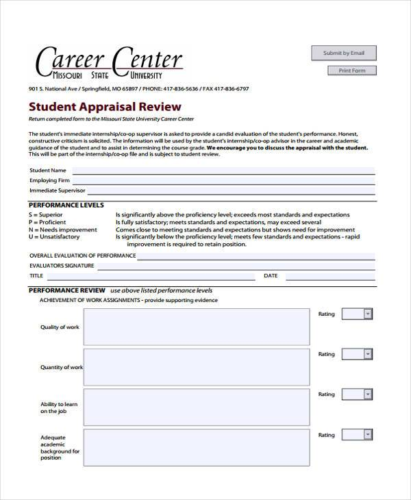 FREE 7+ Sample Internship Appraisal Forms in PDF | MS Word