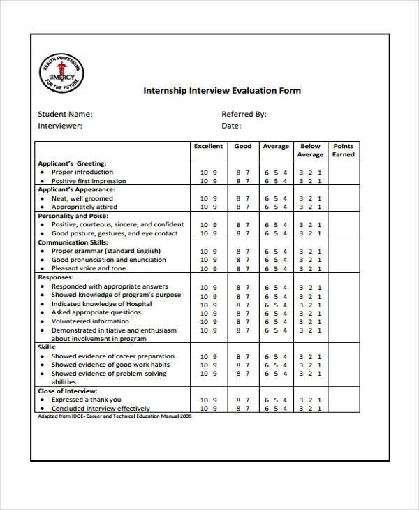 internship interview evaluation form example