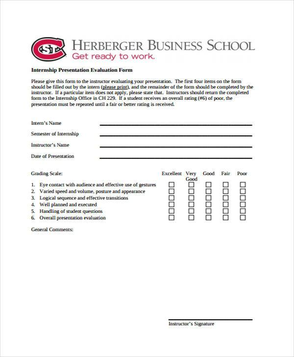 internship presentation evaluation form
