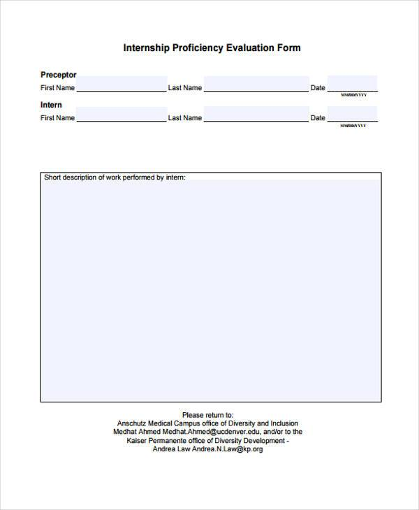 internship proficiency evaluation form sample