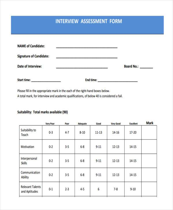interview assessment form in pdf