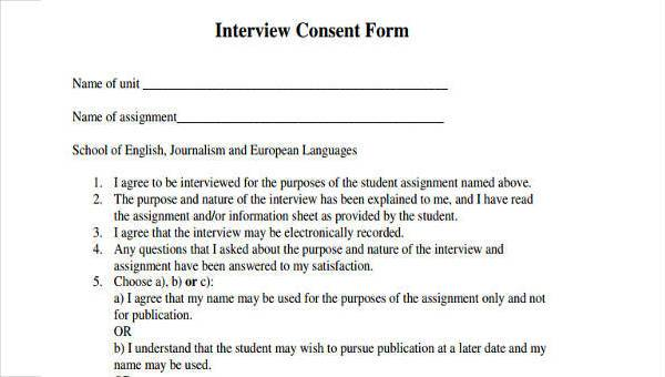 Interview-Consent-Form-Samples Job Applicant Interview Form on comparison templates, social media, posting invitation, reading newspaper, sample rejection letter, given organisation,