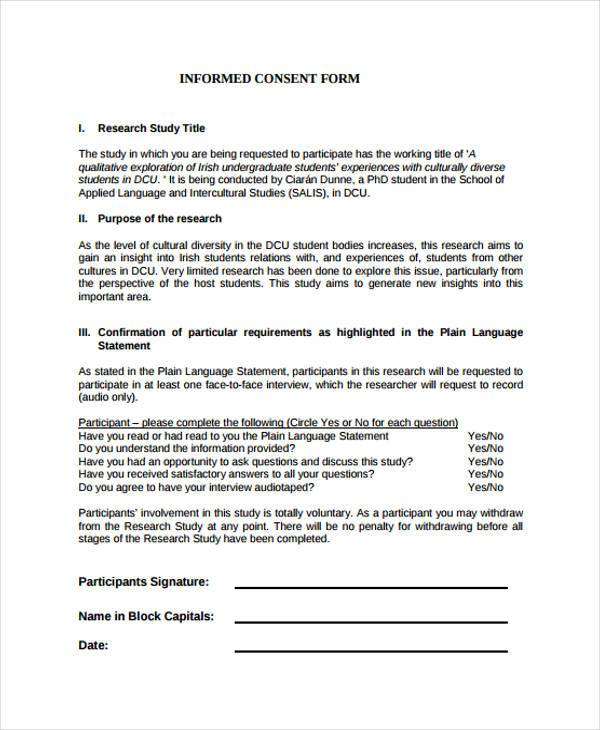 7 Interview Consent Form Samples Free Sample Example Format – Research Consent Form Template