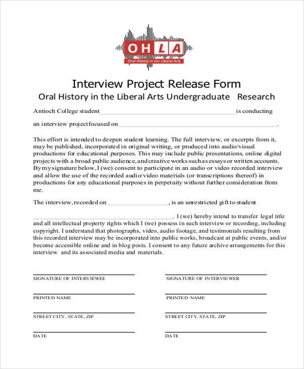 interview project release form