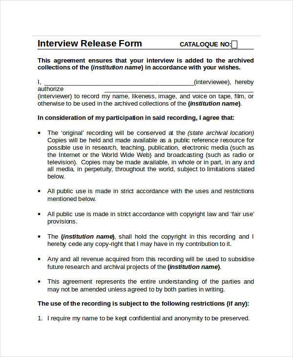 interview release agreement form