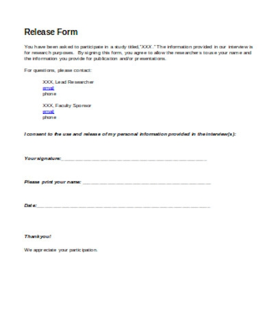 interview release form sample