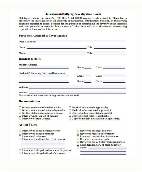 Sample Harassment Complaint Forms   Free Documents In Word Pdf
