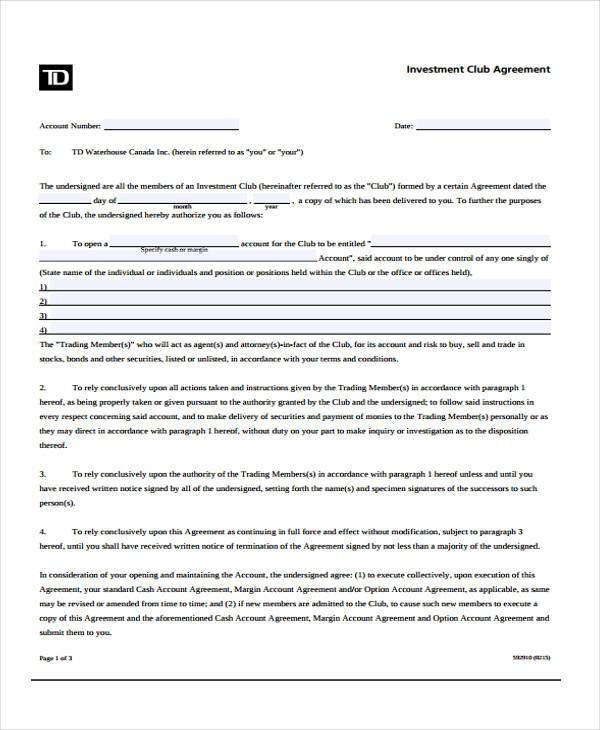 investment club account agreement form