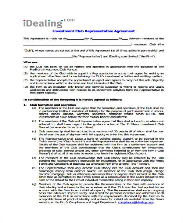 Investment Club Agreement Form Samples  Free Sample Example