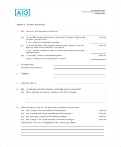 investment proposal form doc