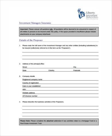 investment proposal form in pdf