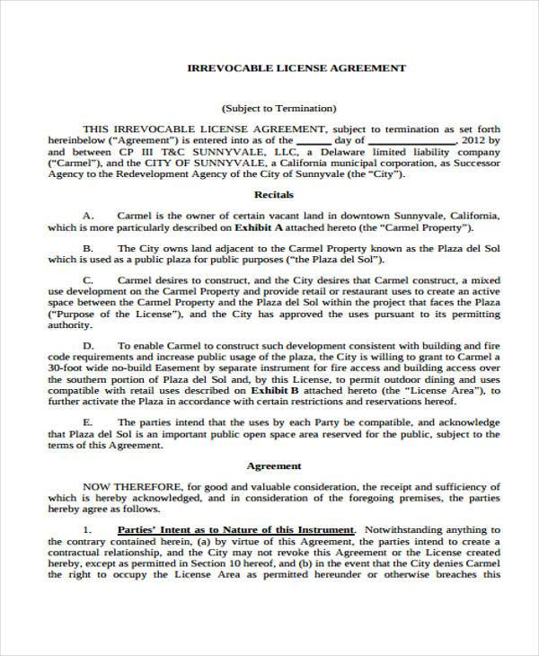 irrevocable license agreement form