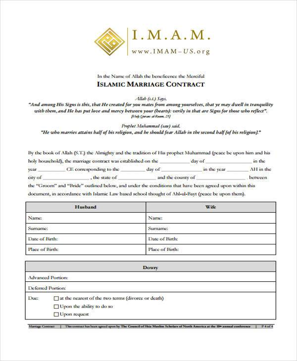 Marriage Contract Form Samples  Free Sample Example Format Download