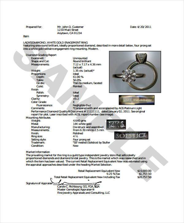 where to get jewelry appraised for free 7 jewelry appraisal form sles free sle exle 2142